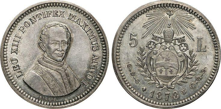"""NumisBids: Numismatica Varesi s.a.s. Auction 65, Lot 859 : LEONE XIII (1878-1903) 5 Lire 1878 """"saggio"""" Mont. 420 Ag g..."""