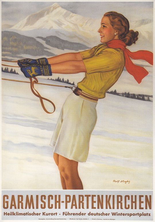 Gosh-guess folks were a lot tougher way back in the day ! Skijoring in style...shorts, scarf & polo sweater. That belt & tow line look pretty shifty (yikes) !  Good thing she remembered her gloves !!