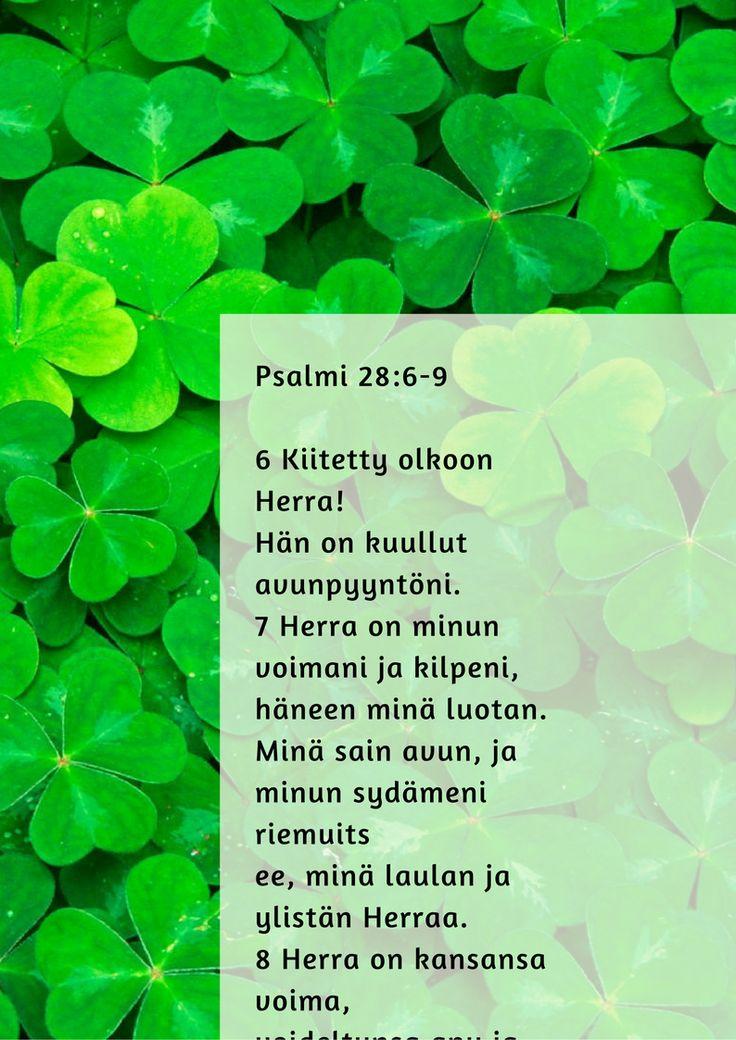 6 Kiitetty olkoon Herra! Hän on kuullut avunpyyntöni. 7 Herra on minun voimani ja kilpeni, häneen minä luotan. Minä sain avun, ja minun sydämeni riemuitsee, minä laulan ja ylistän Herraa. 8 Herra on kansansa voima, voideltunsa apu ja turva. 9 Pelasta kansasi ja siunaa omiasi, kaitse ja kanna heitä nyt ja aina.