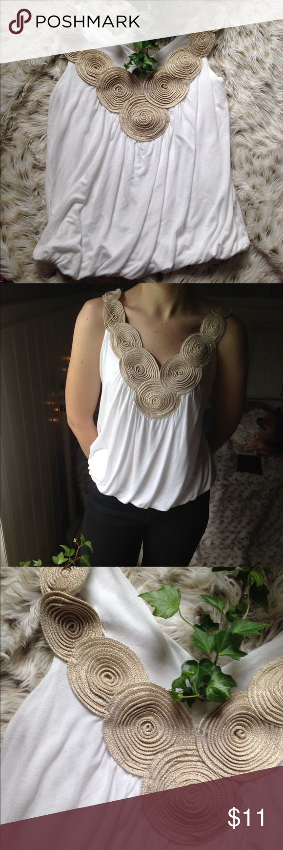 Body Central | Yo Yo Tank | Size S Cream yo yo's are accented with gold flecks. Bottom has elastic. In used but excellent condition. Size Small. Any questions and offers are warmly welcome. :) Thank you for looking! Body Central Tops Tank Tops