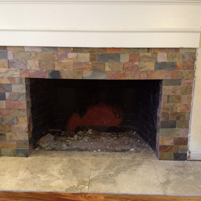 Diy Fireplace Cut Slate Tiles For The Home Pinterest