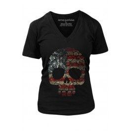 Women's Floral Skull Flag Vintage T-Shirt