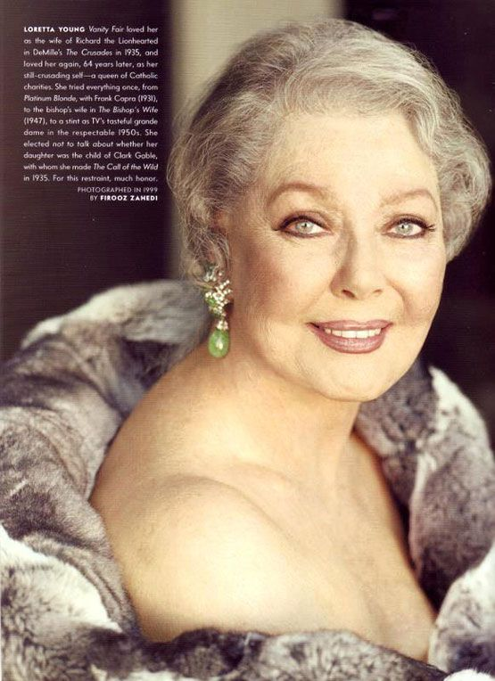"Loretta Young: ""There is no personal achievement in being born beautiful.""  Loretta was truly beautiful until the end. What a stunning portrait.  Taken in 1999. She was 86."