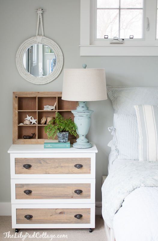 Ikea Tarva Hack - turn cheap ikea dresser into night stands with moulding, paint and stain - so easy!