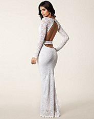 Lace Cut Out Back Maxi Dress - John Zack - Wit - Feestjurken - Kleding - NELLY.COM