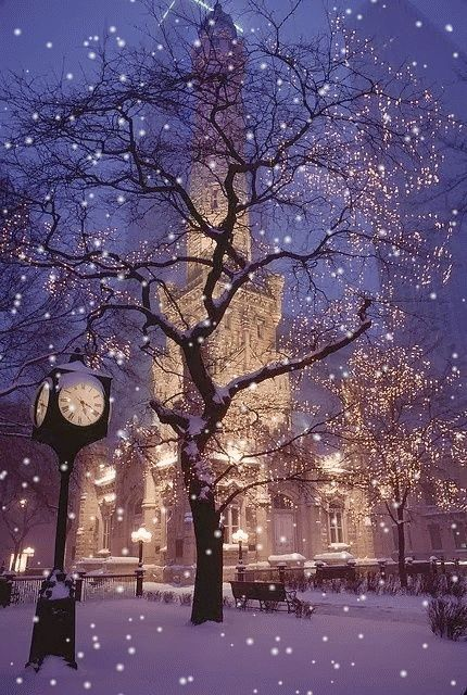 Through Elia's Eyes, ( bei Mari@net Christmas Animated Gifs gefunden ) , Water Tower - Chicago - USA ~by night ~ snow is falling now ~