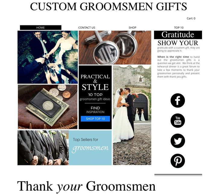 New #CastnetAgency website for #GroomsmenGifts was able to keep the traditional black and white and enhance the styling with the item photos http://www.castnetmarketing.com www.customgroomsmengifts.com