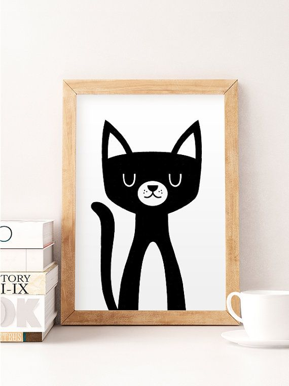 Cat print Cute cat art Nursery wall art Funny kids by NorseKids