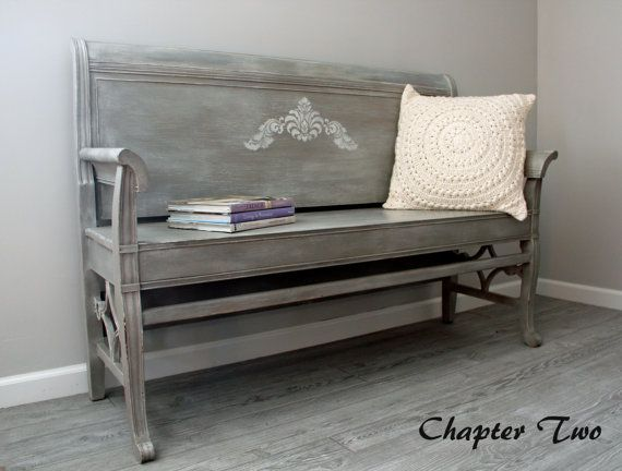 SOLD Hand Painted Wood Bench Made From a Vintage Headboard