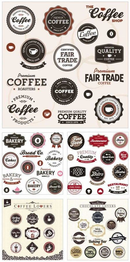 Classic coffee Set 450x903 カフェ、ビストロ、レストラン、パン屋さんのメニューにワンポイント!お洒落なクラシックラベルのセット(EPS) Free Style