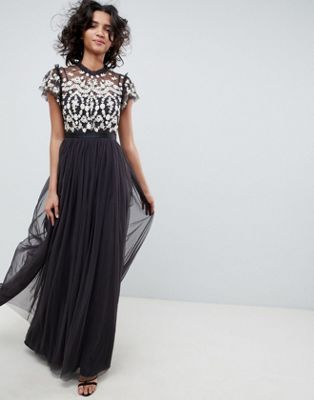 0c3d9553628 Image 1 of Needle   Thread embroidered bodice tulle maxi dress in graphite