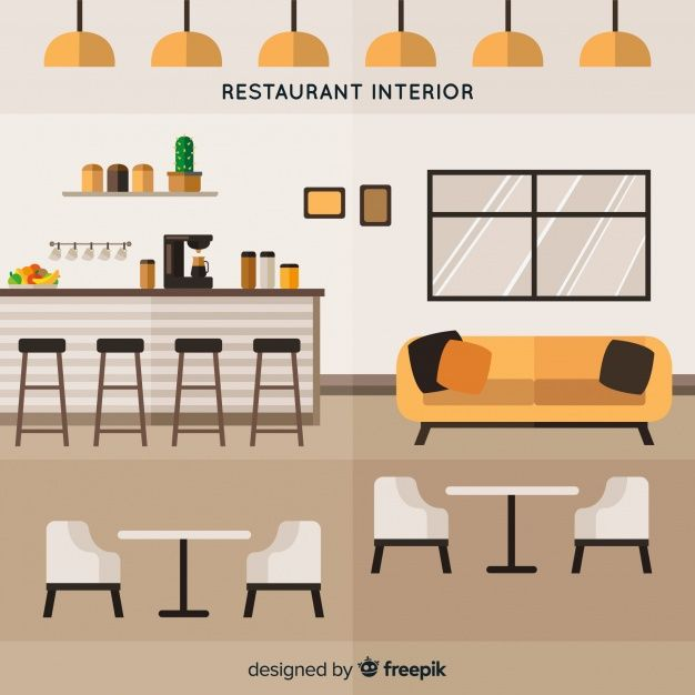 Download Elegant Restaurant Interior With Flat Design For Free Restaurant Interior Design Design Interior