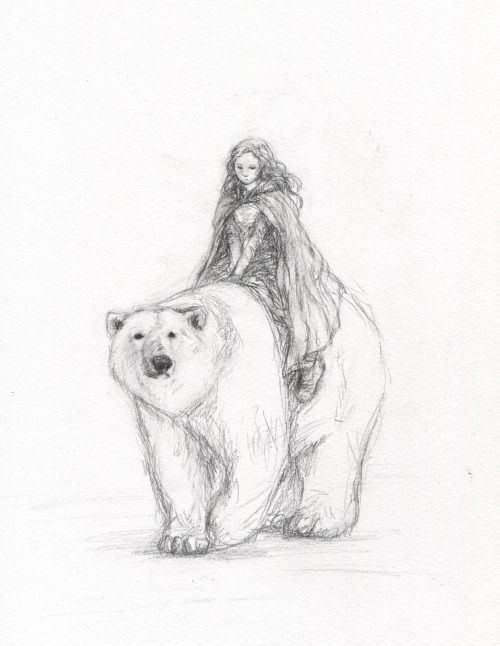 Repin--shame on whomever pinned this without giving credit to the artist! It's beautiful! I can only assume they are Lyra and Iorek from The Golden Compass :)