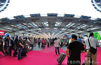 Activities of visitors and buyers at the Pearl Promenade of canton fair at Pazhou complex, Guangzhou, China