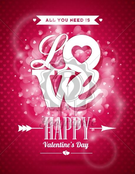 Vector Valentines Day illustration with Love typography design on shiny background. - Royalty Free Vector Illustration