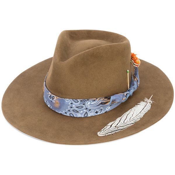 Nick Fouquet Bandido Feather Applique Hat ($1,325) ❤ liked on Polyvore featuring men's fashion, men's accessories, men's hats, brown, mens brown fedora hat and mens felt hat