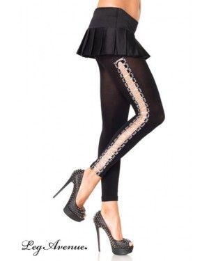 """Leggins in velo nero opaco con allacciatura sui lati modo """"corsetto"""". Piccoli nastri in grigio argento Lurex. Taglia elastica."""