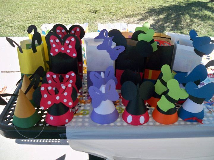Cute!  Mickey Mouse Party Hats & Goody Bags
