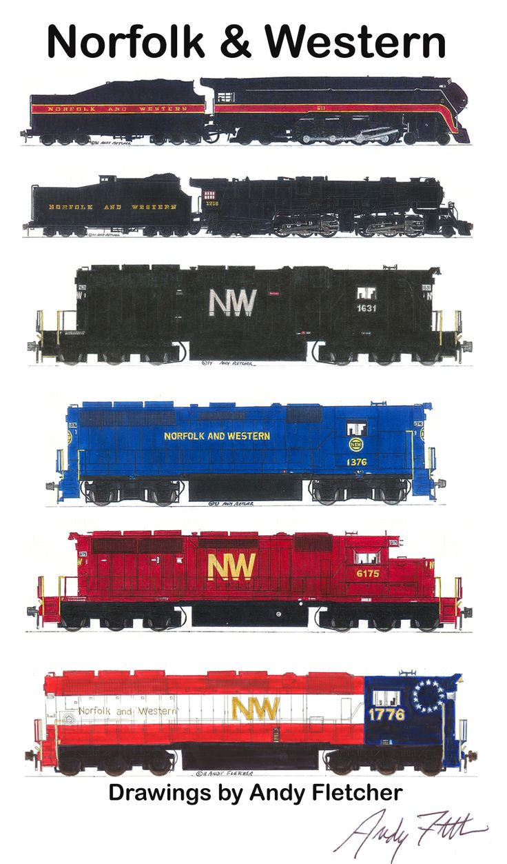 Pin canadian national railroad map on pinterest - 6 Hand Draw Norfolk Western Locomotive Drawings By Andy Fletcher