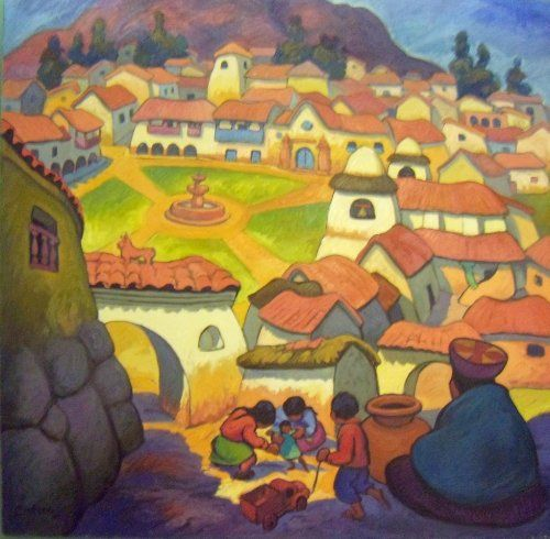 """Asi et Mi Tierra"" by Peruvian painter Juan de la Cruz Machicado available at Columbine Gallery on Amazon Fine Art"