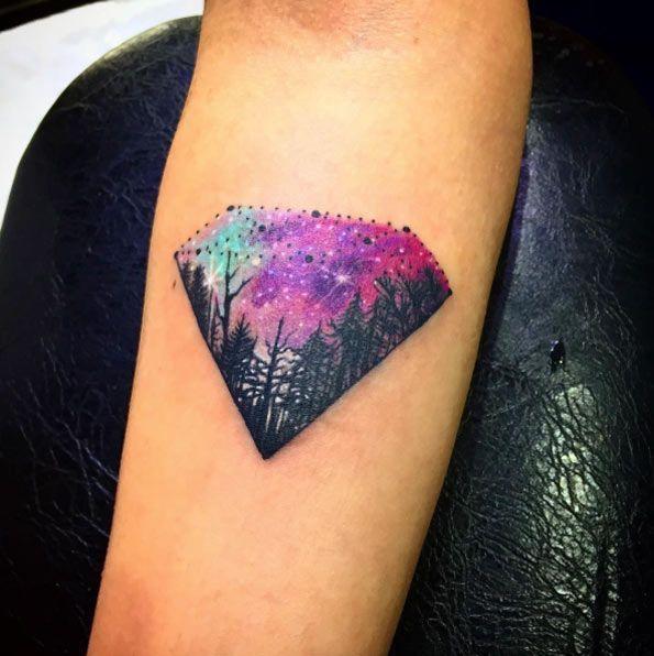 Diamond tattoo colorful