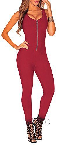 New Trending Bodysuits: Jumpsuit Adult Sleeveless Zipper Up Backless Bodysuit Design Romper Maroon 05 M. Jumpsuit Adult Sleeveless Zipper Up Backless Bodysuit Design Romper Maroon 05 M  Special Offer: $14.90  399 Reviews Delcoce Women's Sexy Wide Strap Sleeveless Low Cut Back Zipper Up Skinny Tight Stretch Bodycon Jersey One Piece Tank Rompers Jumpsuits Unitard Bodysuits Playsuits...
