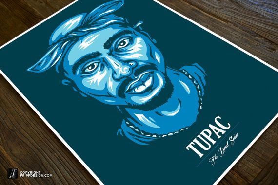The Dead Series  Tupac Shakur 2pac Poster Wall Art  by frippdesign
