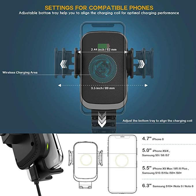 10W Compatible for Samsung Galaxy S9//S9+//S8//S8+//Note 8 Air Vent Phone Holder 10W Wireless Car Charger Wireless Fast Car Mount 7.5W Compatible for iPhone Xs Max//Xs//XR//X// 8//8 Plus