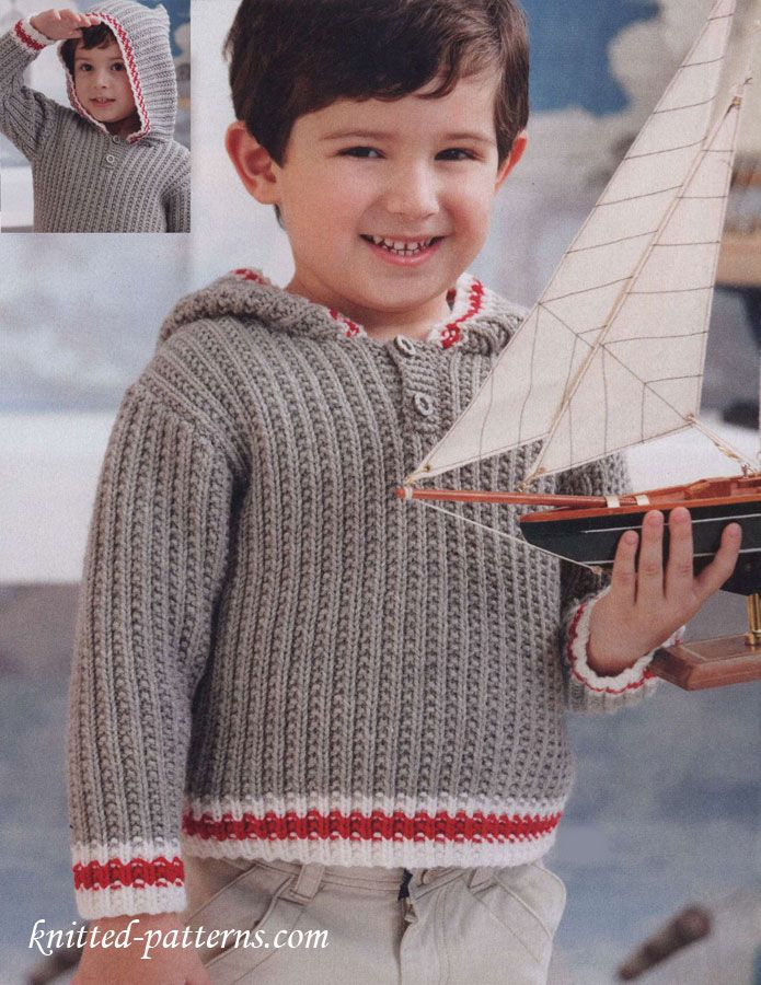 Free child's hoodie knitting pattern - Sized for Child's 2, 4, 6, 8 and 10.