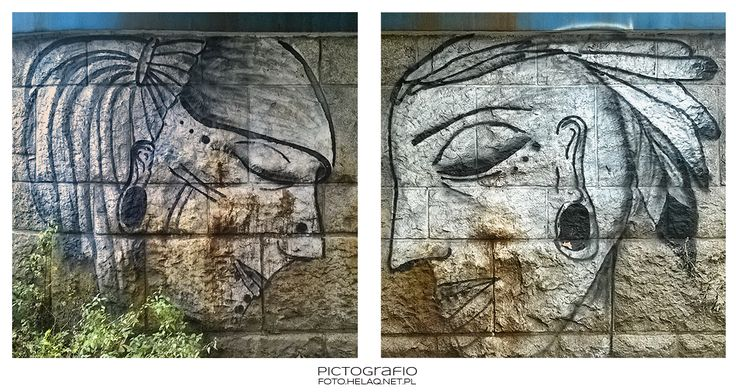 Faces painted on railway bridge pillar in Dąbie district of Kraków, Poland. Probably painted by Wars.Colors.Primitives.    MONDAY MURAL  ...