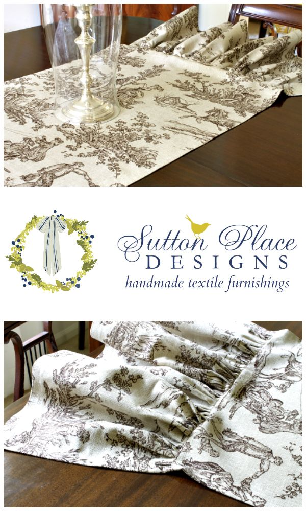 Brown Toile Ruffled Table Runner Fall Thanksgiving Brown Covington Toile 20  X 72