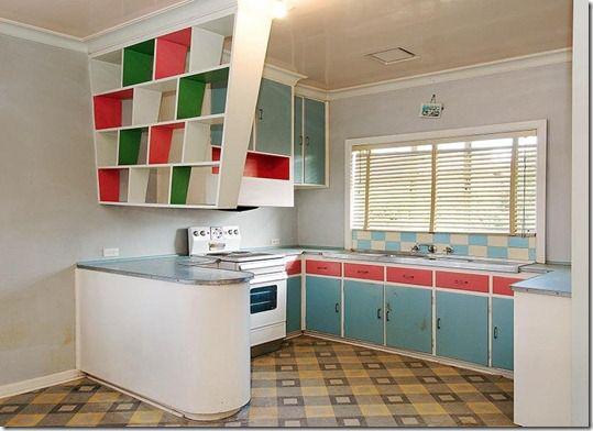 Fabulous 1950's kitchen with great suspended shelves painted in contrasting colours