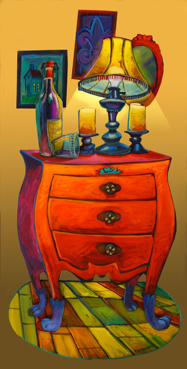One night stand - terrance osborne. I would love to have this painting. The colors are perfect and lights up my soul every time I see it. Perfect.