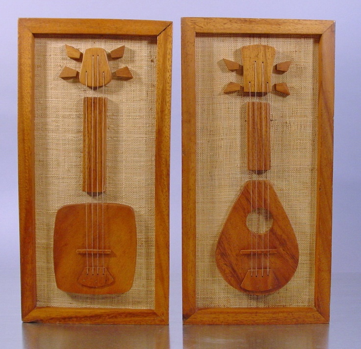 Musical Instruments Wall Plaques, Guitar and Mandolin on Burlap.  Handmade.