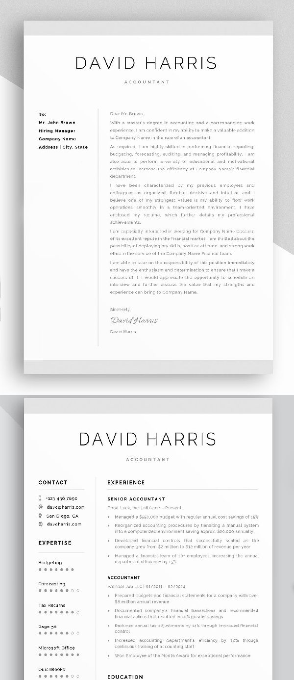 Accountant Resume, Cover Letter   W O R K   Resume layout ...
