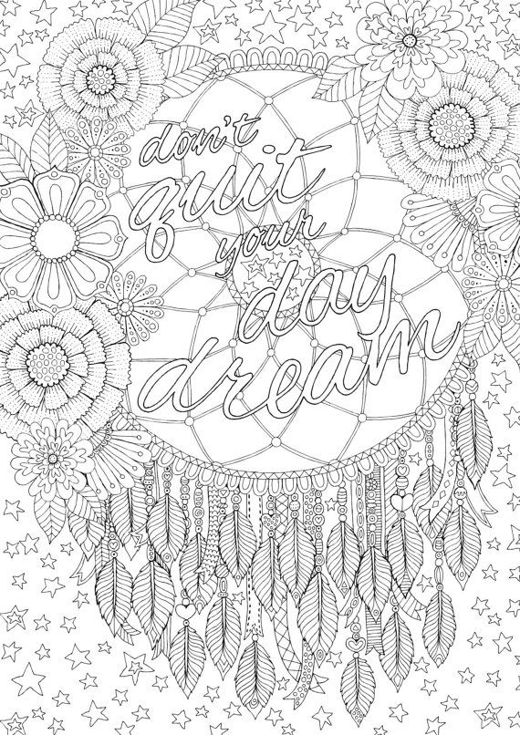 Don't Quit Your Daydream - Colour with Me HELLO ANGEL - coloring, design, coloring for grown ups, doodles, quote, uplifting