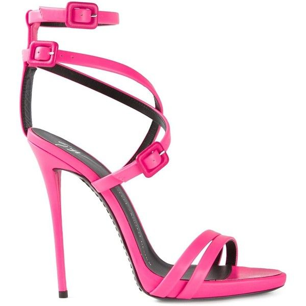 Giuseppe Zanotti Design strappy sandals ($360) ❤ liked on Polyvore featuring shoes, sandals, heels, leather ankle strap sandals, ankle strap sandals, pink strappy sandals, strappy heeled sandals and leather sandals