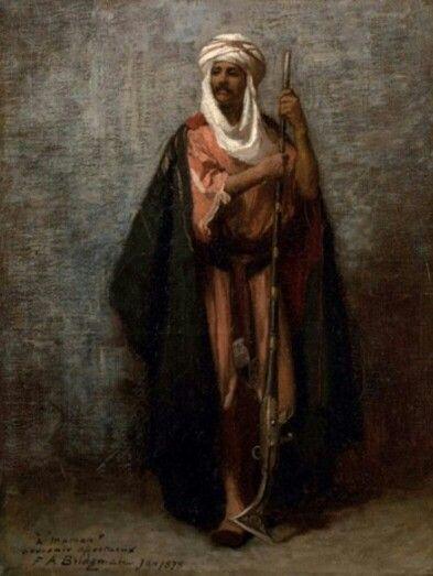 Algérie  -  Peintre American  Frederick Arthur Bridgman(1847-1928), huile sur toile 1878  , Titre :  Le fier guerrier