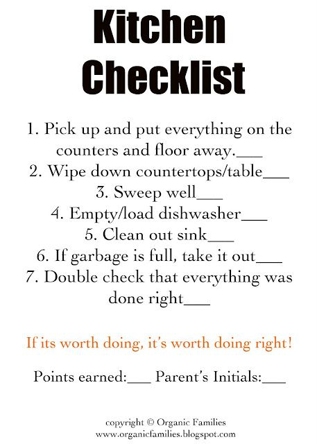 Detailed check-off list for kids' cleaning chores.