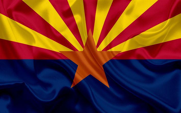 Scarica sfondi In Arizona, Bandiera, bandiere degli Stati, bandiera dello Stato dell'Arizona, USA, stato di Arizona, blu, seta