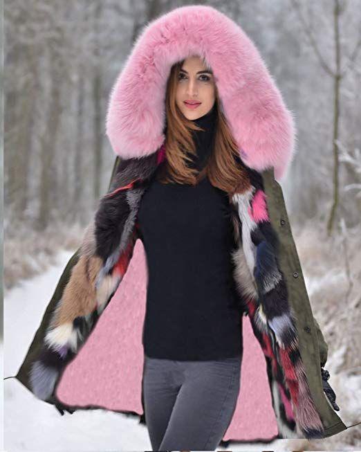7f30a762f0b1 Roiii® Frauen Winter Verdicken Parka Kapuzen Ski Outdoor Kunstpelz Jacke  Mantel Plus Größe 36-50  - Winter Outfits Frauen Sch…   Winter Outfits  Frauen