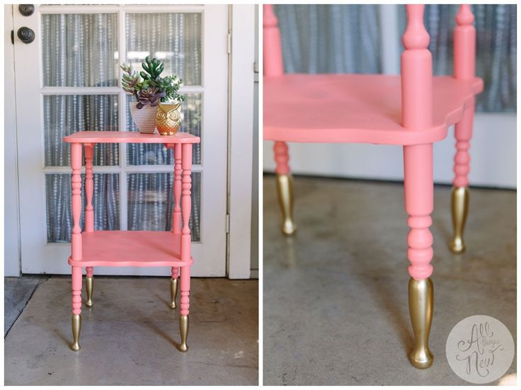 This little accent was found in a trash pile and given new life with pretty pink paint and chic gold-dipped legs. Love this look!