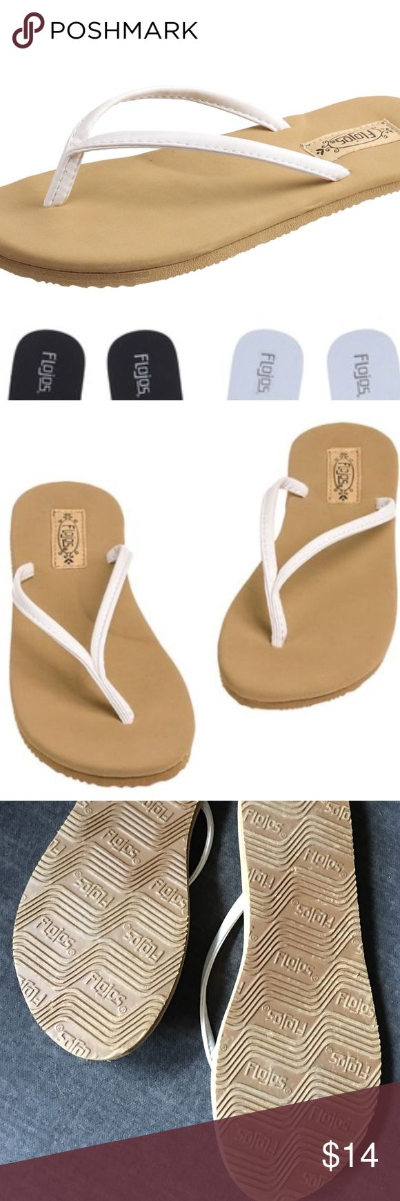 Flojos Flip Flops Get ready for the beach! Flojos flip flops provide the ultimate in comfort and versatility. Memory foam type insole. Beige/white. Size 8. I have them in almost every color but only wore the white a couple of times. Summer wardrobe staple! Comes from a smoke free home 🏡 Bundle & save! Flojos Shoes Sandals