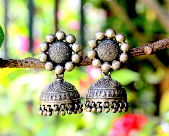 Sterling Silver Oxidised Jhumka, Dome Shaped Chandelier Earring