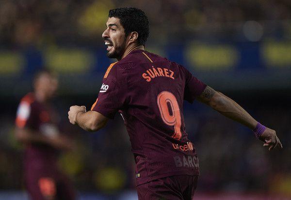 Luis Suarez of Barcelona reacts during the La Liga match between Villarreal and Barcelona at Estadio La Ceramica on December 10, 2017 in Villarreal, Spain.