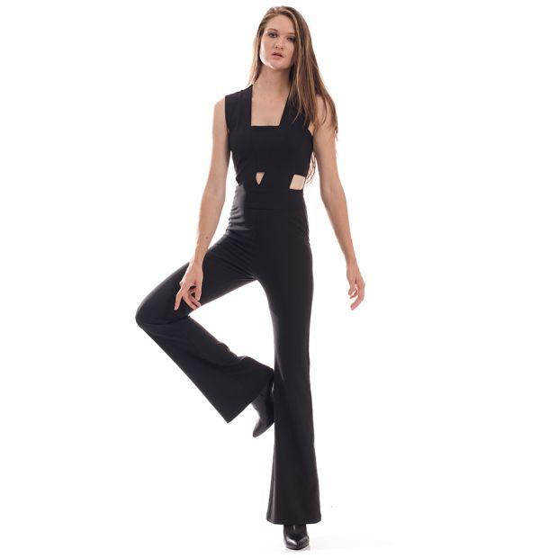 Μαύρη ολόσωμη φόρμα ISO με ανοίγματα στη μέση