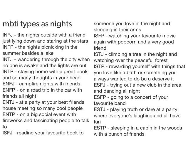 MBTI Types as Nights.