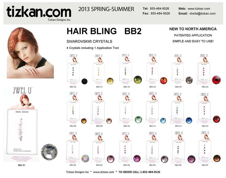 BB2 Hair Bling - Each package has 4 Swarovski Hair Crystals and an Application Tool. The BB2 is available in many colours.