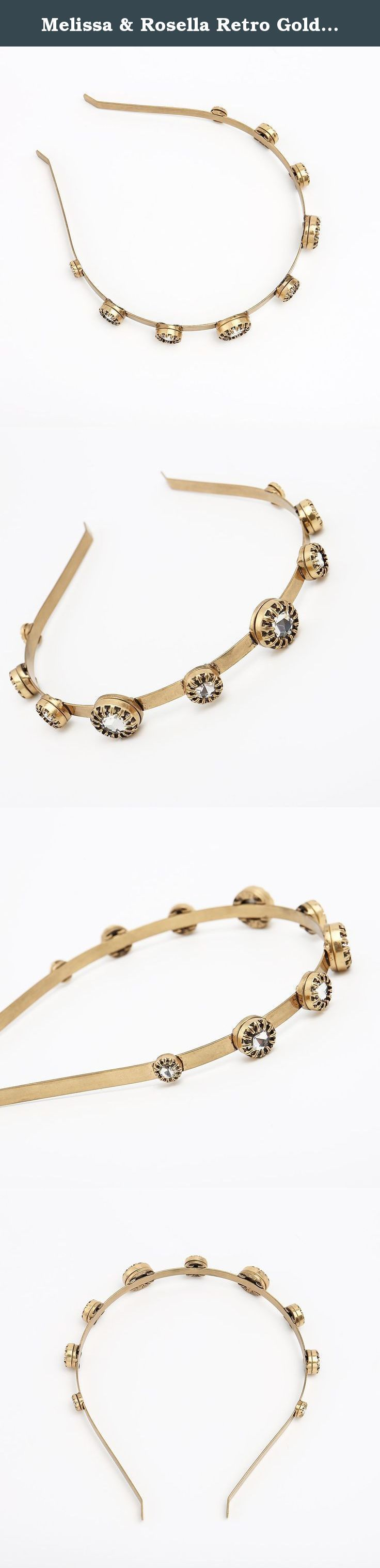 Melissa & Rosella Retro Golden Headband Rhinestone Inlay Hair Band. Description Brand Name: Melissa & Rosella Model No.: QT0150F-284 Material: Alloy Gilded Size: The maximum diameter of the artificial gemstone is about 16cm Weight: 44g Note: 1. Due to manual measurement,please allow 1-2cm difference. 2. Picture shown, which mainly lies in different light effect and computer monitor. .