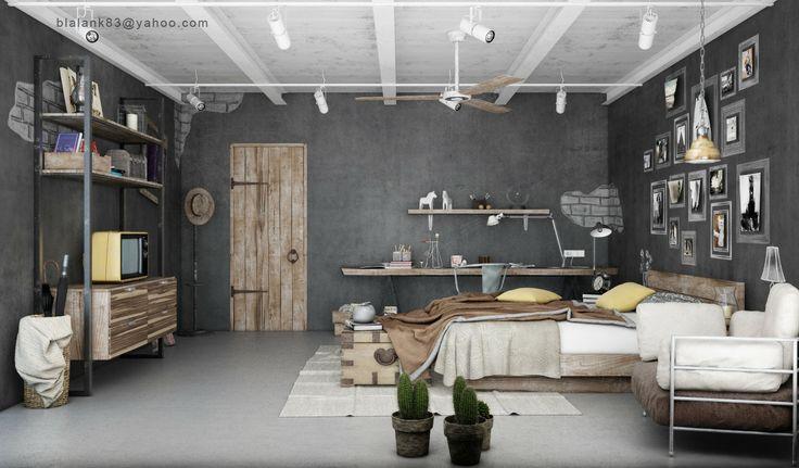 Mooi totaalplaatje van slaapkamer met industrieel interieur